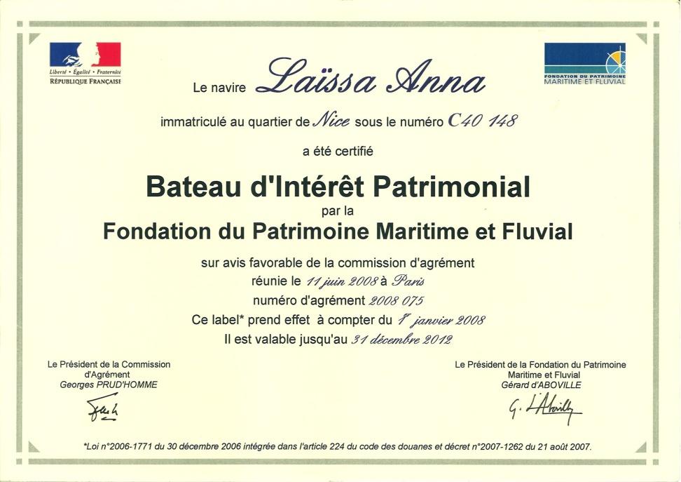 Label Bateau d`Intérêt Patrimonial